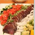 こどもの日の晩ごはん*リングハンバーグ&鰹のたたきコブサラダ風♪