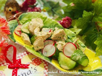 【副菜】食欲そそるケバブなドレッシング!ささみときゅうりとラディッシュのメキシカンココナッツ和え