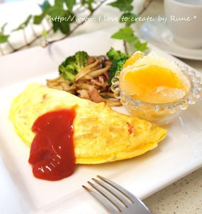 朝ごはんのスパニッシュオムレツと野菜&フルーツ