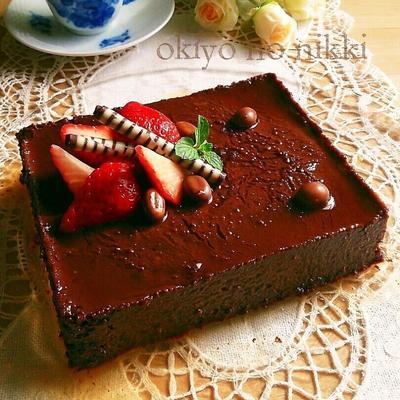 豆腐と黒糖ココアの濃厚プリンケーキ。