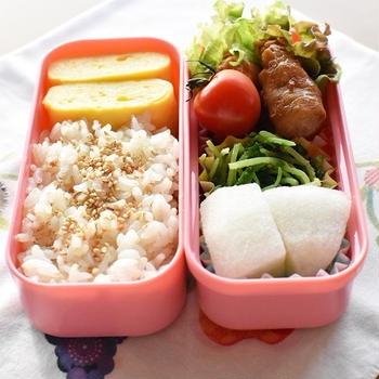 娘のお弁当「えのき肉巻き(甘酢ver.)弁当」