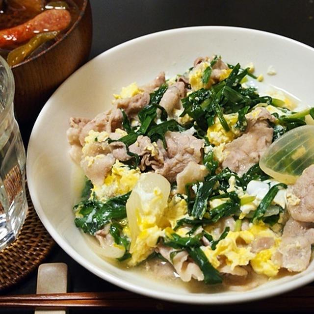 和風で作るとやさしい味。豚肉のニラ玉