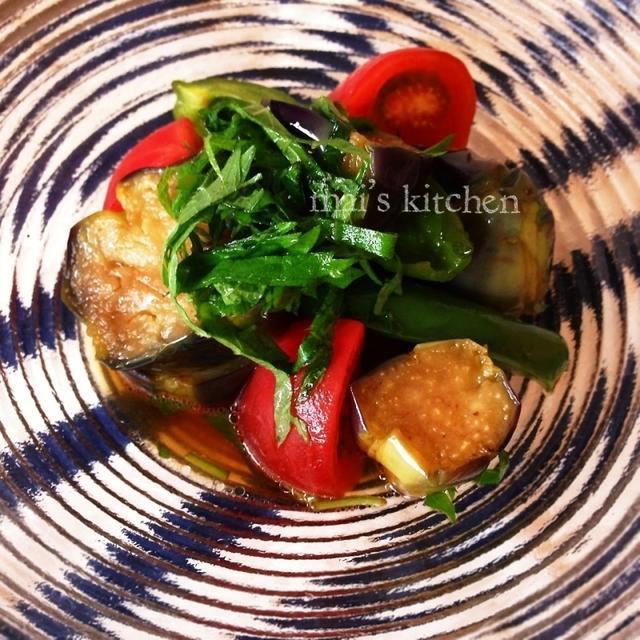 簡単♡麺つゆde彩り夏野菜の揚げ浸し♪♪温でも冷でも♡