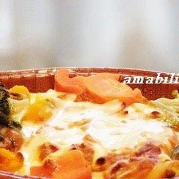 緑黄色野菜のチーズグラタン