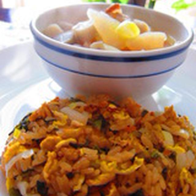 「炊き込みごはんで☆ハーフサイズの高菜炒飯」
