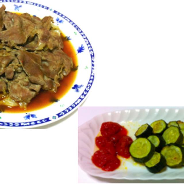 豚肉の味噌漬けキャベツ蒸し、トマトとキューリのピーナッツ和え他
