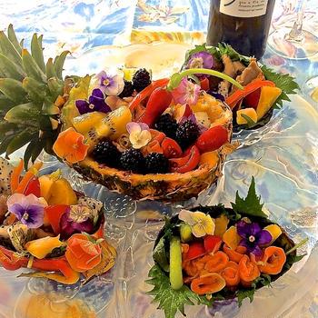 『お洒落なフルーツボートカルパッチョ』♡ 海のワイン『ビオンタ  アルバリーニョ』にあわせて♪♪