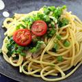 「たっぷりの葱と豚肉の洋風パスタ」