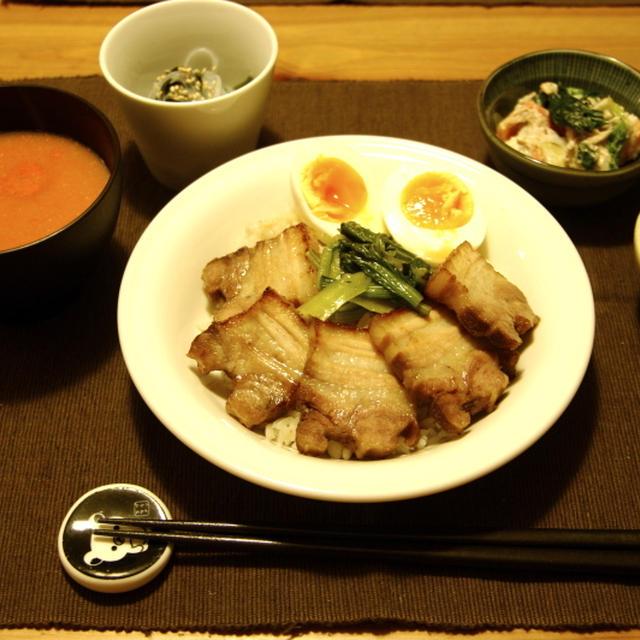 簡単炙りチャーシュー丼夜ご飯