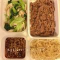 【作り置き】豚こま生姜風味、青梗菜とエリンギの中華炒め、もやしナムル、手作りなめたけ