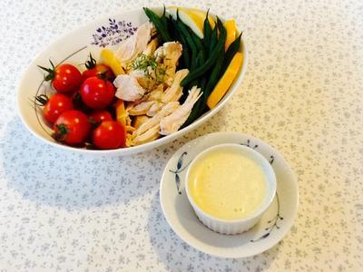 GABANのガラムマサラでおいしい減塩レシピ 季節の野菜と鶏むね肉の酒蒸しサラダ
