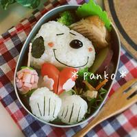 ハート持ちスヌーピーのお弁当/キャラ弁
