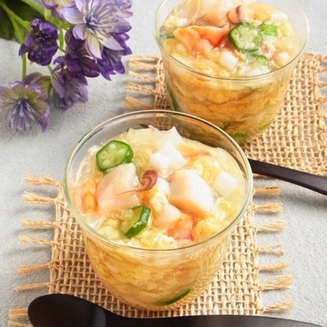 夏のおもてなし * 魚介と夏野菜の白だし寒天寄せ