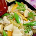 【季節料理で 竹の子と蕗の五目飯】です♪
