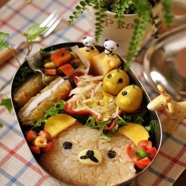 カリカリポテトのチキン焼きとリラックマのお弁当