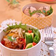 高野豆腐がたっぷり入った作り置きハンバーグのお弁当!