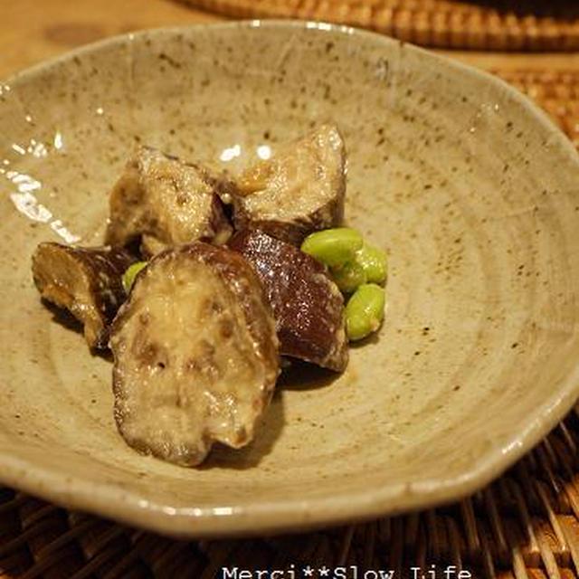 粕漬けの粕を使ったお料理♪ 茄子と枝豆の炒めもの