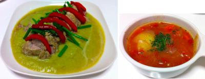 茹で豚のキューリおろしソース、茹で汁でトマトスープ 他