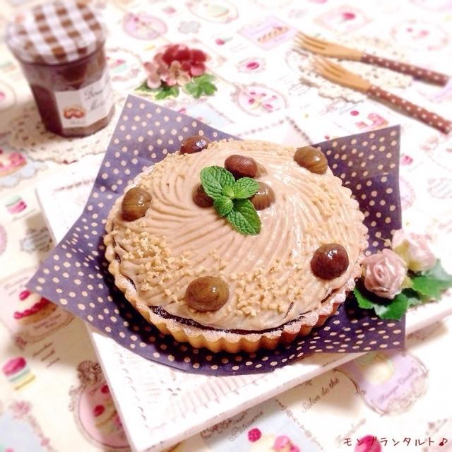 チョコケーキモンブランタルト♪フォークで簡単デコレーション
