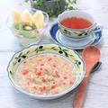 ふつうの朝食。食物繊維たっぷり。『オートミール野菜スープ』
