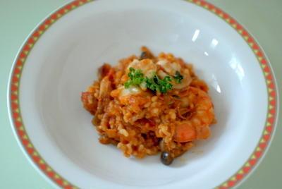 トマトカレーdeシーフード玄米リゾットグラタン (ルクエxサブジ)