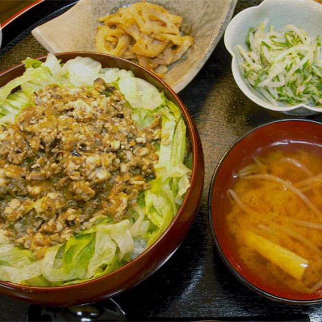 肉味噌風豆腐と野菜味噌の丼
