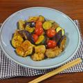 まろやかな辛みと旨み!こってりチキンと3種の夏野菜のカレー炒め