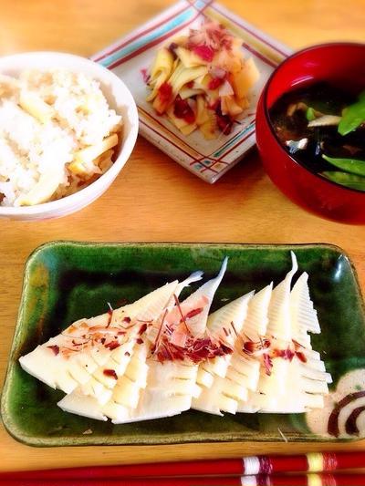 たけのこご飯、たけのこ味噌汁、姫皮の梅和え、たけのこのお刺身。