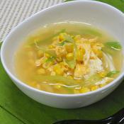 たっぷりコーンとネギの卵スープ