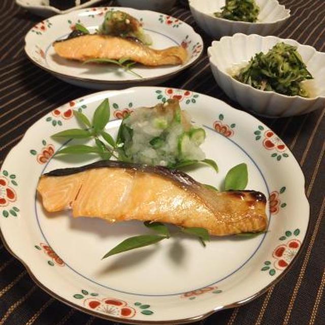 夏野菜の冷たいおひたしとヨーグル豆腐?!薄塩時鮭。