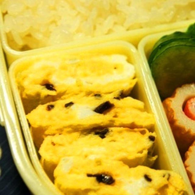 世紀末弁当救世主伝説、塩昆布入り卵焼きとカニカマ In CHIKUWA弁当