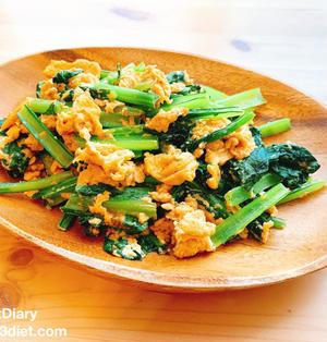 【レシピ】小松菜と卵のオイマヨ炒め