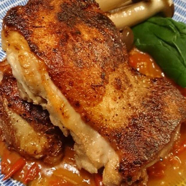 野郎飯流・皮パリ鶏ももソテー トマトソース