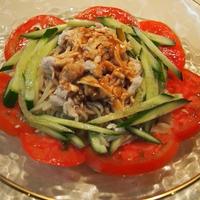 マルちゃんの冷やし中華 ごまだれ で、棒々鶏冷麺