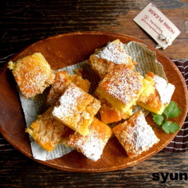 【簡単!!カフェおやつ】バターピーナッツとパイナップルのスクエアケーキ