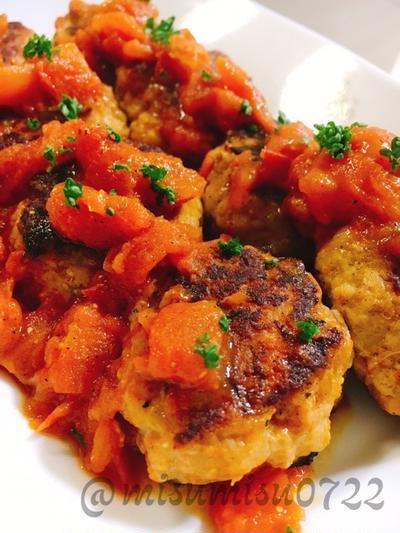 【お弁当に】トマト煮込みポークハンバーグ