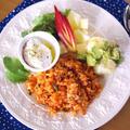 【レシピ】アボカドとポテトの簡単サラダとなつかしケチャップライス☆本日のランチ