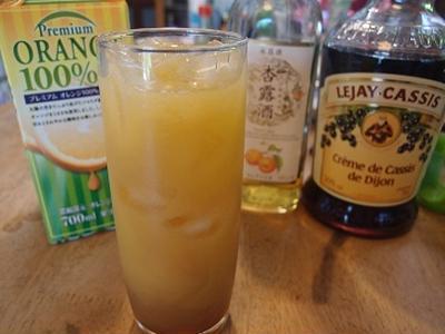 杏露酒入りカシスオレンジ