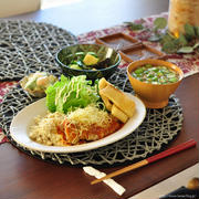 豚ロース肉のトマト煮込み献立(高野豆腐のレンチンソイライス添え)
