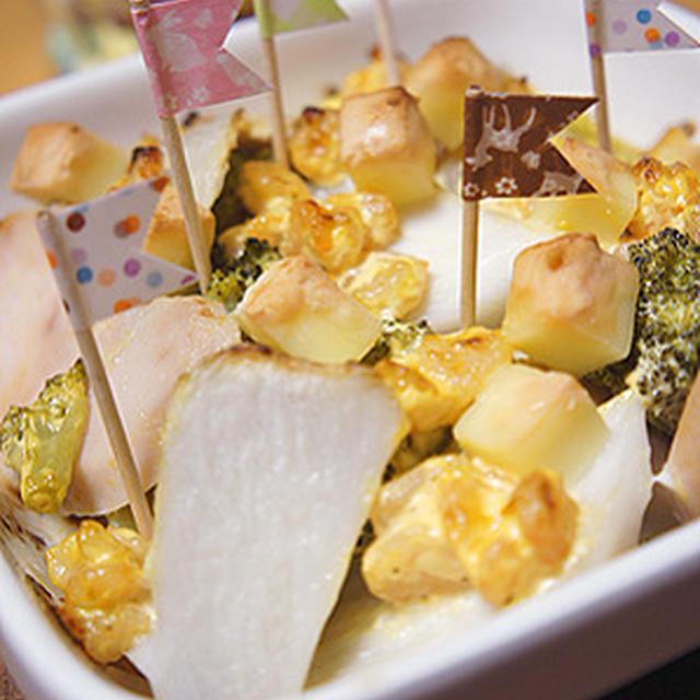 旬の里芋と鶏ハムとこんがり焼けるチーズの簡単グラタン♪