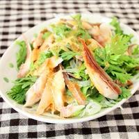 生姜レモンドレッシングdeあじの干物と春菊のサラダ