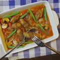 牛肉ごぼう巻きとマッシュルームのトマト煮