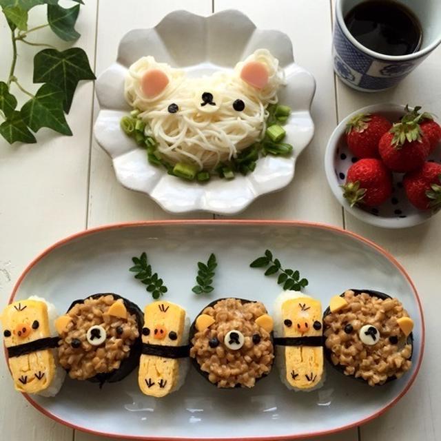 キイロイトリさんにぎり寿司*コリラックマ素麺