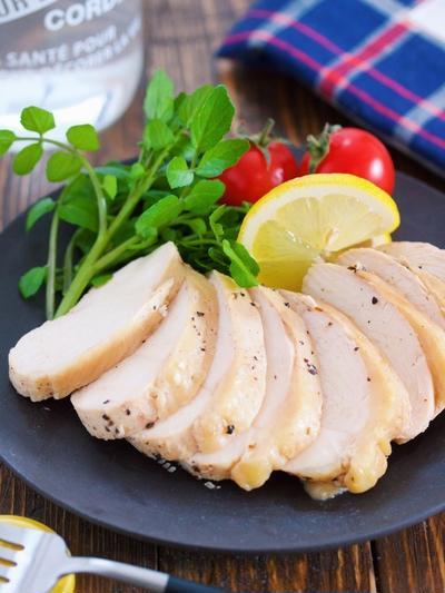 サラダチキン風♡レモンペッパーチキン(鶏ハム)【#作り置き #お弁当 #包丁いらず #放置 #やみつき #主菜】