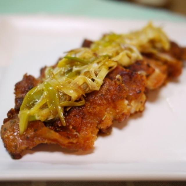 チキンの香草揚げ焼き・炒めネギハニーポン酢