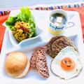 クミン風味で小松菜克服❗️小松菜パンプキンサラダのモーニングプレート