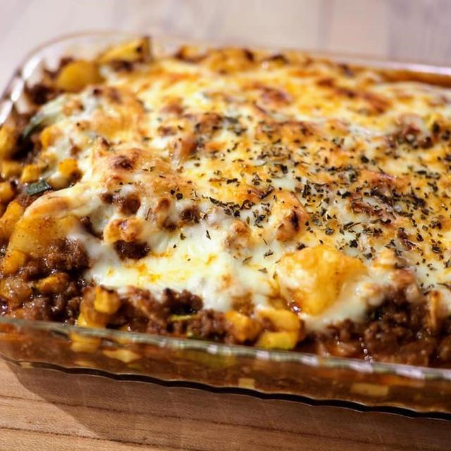 合いびき肉とジャガイモのチーズ焼き☆彡【#簡単レシピ #合いびき肉 #チーズ焼き】