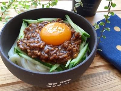 【簡単】【甘辛】納豆入り肉味噌deジャージャー麺