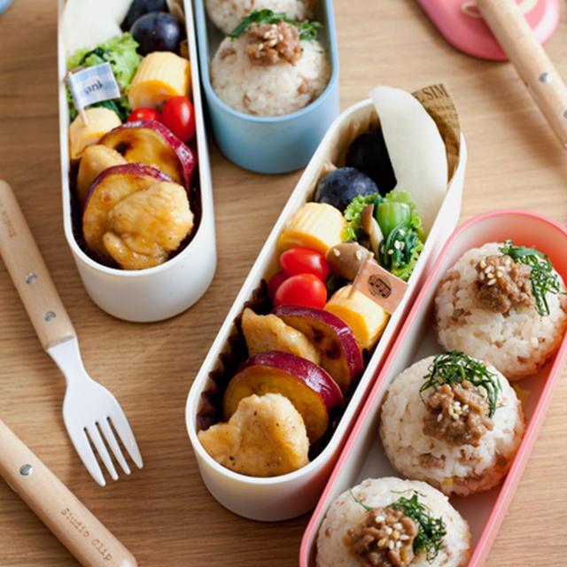 さつま芋と鶏むね肉の甘酢ソテー弁当。