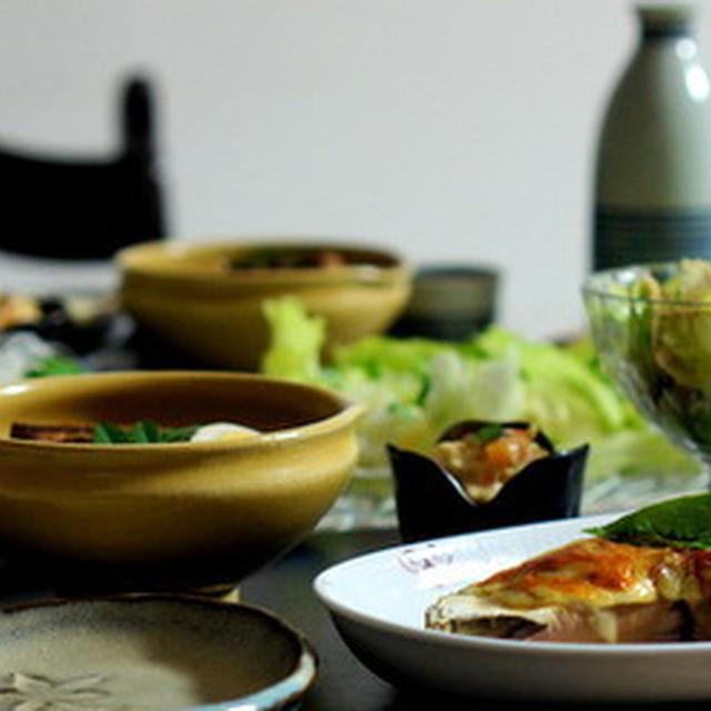 佐土原茄子のチーズ焼き 豚の角煮 帆立ご飯等の日♫